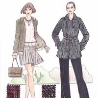 曾经梦想当一名时装设计师,也跨入门坎,但最终还是以纺织设计为生。留下一些习作权当纪念。