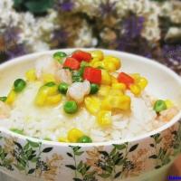 虾仁玉米青豆盖浇饭