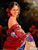 中外绘画:活在花里的女人 比花更销魂