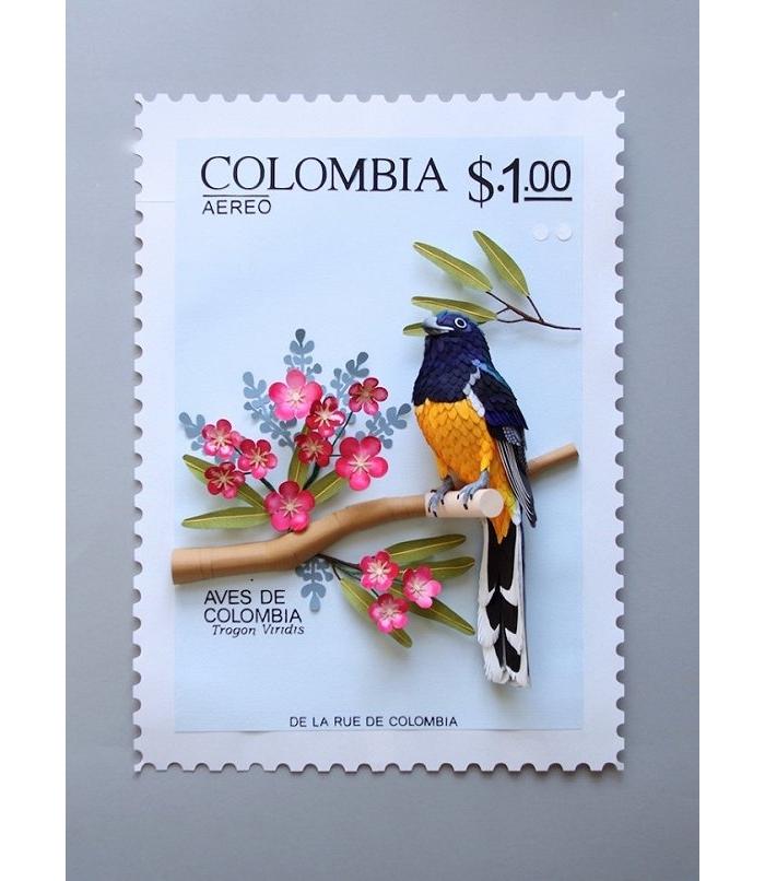 她专门收藏邮票上的鸟